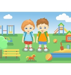 School children on a playground outdoors with vector