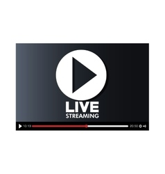 Screen with live play button icon vector