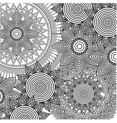 seamless pattern floral round abstract vintage vector image