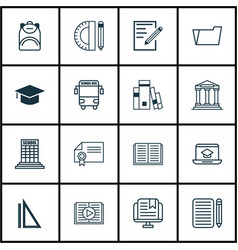 Set of 16 school icons includes academy home vector