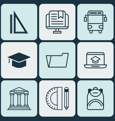 Set of 9 education icons includes e-study vector