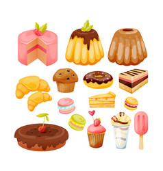 Set of sweets delicious pastries and desserts vector