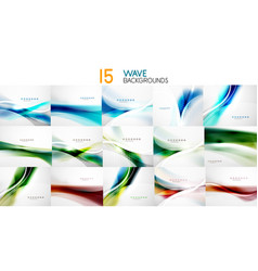 set of wave abstract business backgrounds vector image