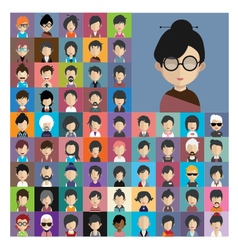 set people icons in flat style with faces 11 a vector image