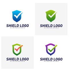 set shield check logo design concept shield vector image