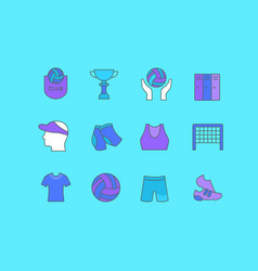 set simple line icons volleyball vector image