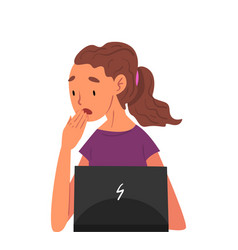 stressed girl sitting in front computer female vector image