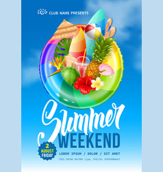 summer weekend party flyer template vector image