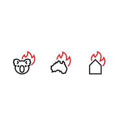 support australia koala home on fire icon vector image