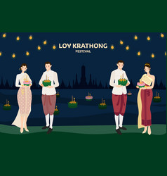 thai couple traditional dress floating flowers vector image