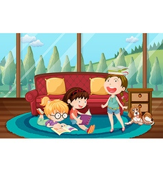 Three girls reading book in the living room vector