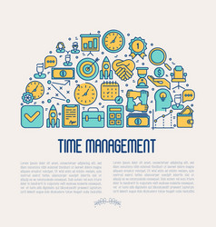 time management concept in half circle vector image