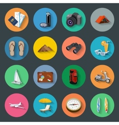 Tourism flat icons set vector image