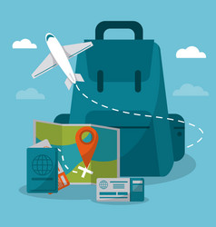 Travel concept backpack airplane passport map vector