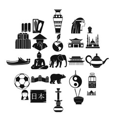 traveling in asia icons set simple style vector image