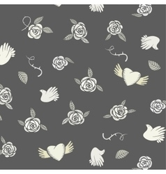 Valentine seamless pattern on a grey background vector image