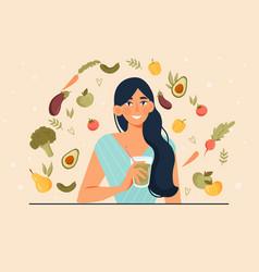 Vegan and healthy diet concept vector
