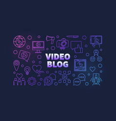 video blog colored outline horizontal vector image