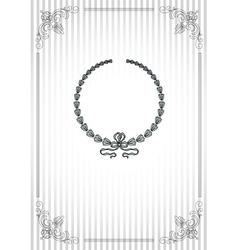 Vintage frame on striped silver background vector image
