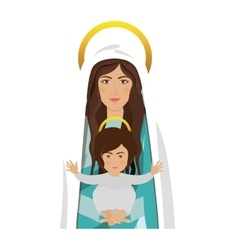 Virgin mary and baby jesus vector