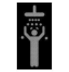 white halftone man under shower icon vector image