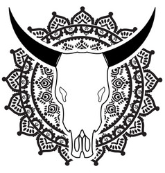 Wild animal skull in black and white on mandala vector