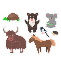 Wild cartoon animals isolated stickers collection vector