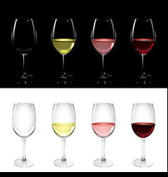 wineglass with white pink and red wine vector image