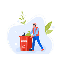 worker man with bin garbage for metal vector image