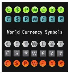World currency symbols vector