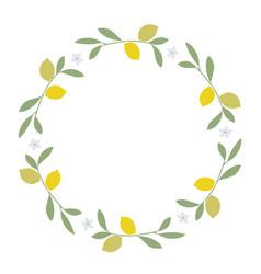 wreath of leaves lemon and lemon blossoms on vector image