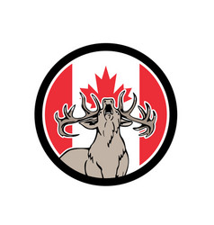 Canadian stag deer canada flag icon vector