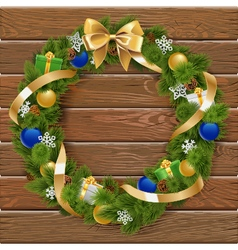 Christmas Wreath on Wooden Board 6 vector image