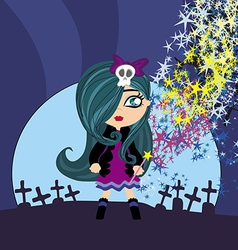 cute little witch vector image vector image