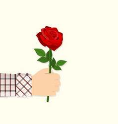 man holding in hand red rose vector image vector image