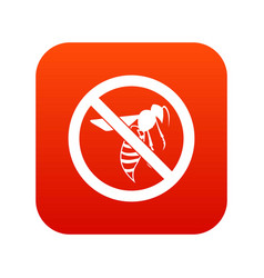 no wasp sign icon digital red vector image vector image