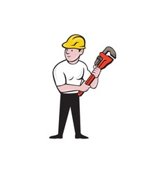 Plumber Holding Monkey Wrench Cartoon vector image vector image