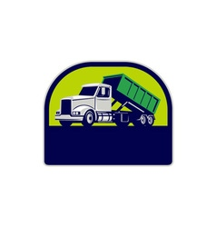 Roll-Off Truck Side Up Half Circle Retro vector image vector image