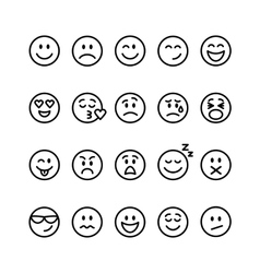 Set of line emoticons vector image vector image