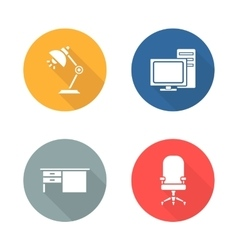Workplace flat design icon set vector