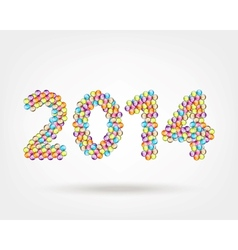 2014 year made from glossy balls for your design vector image