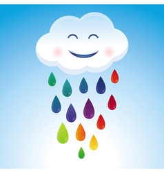 cartoon cloud and rainbow drops vector image vector image