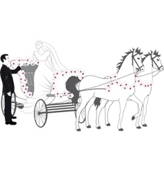chariot with newlyweds vector image