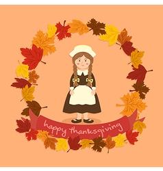 Circle Autumn Leaf Thanksgiving Braid Girl vector image