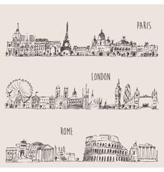 City Set London Paris Rome Engraved vector image vector image