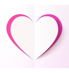 Empty folded paper style pink heart vector image vector image