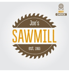 Logo label badge for sawmill carpentry and vector image vector image