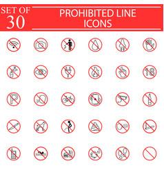 prohibited signs line icon set forbidden symbols vector image