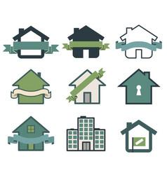 real estate symbol house logos vector image vector image