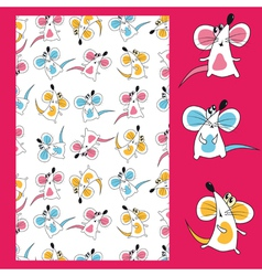 seamless mouse pattern vector image